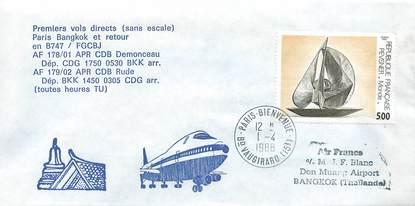 "LETTRE 1 ER VOL / FRANCE ""Paris Bangkok, 1er avril 1988"""