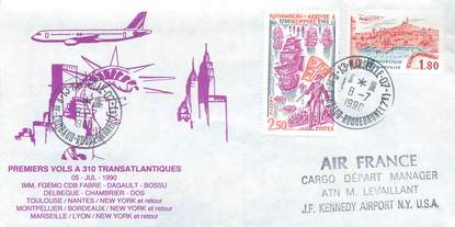 "LETTRE 1 ER VOL / FRANCE ""Toulouse / Nantes / New York, 5 juillet 1990"""