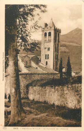"""CPA FRANCE 66 """"Prats de Mollo, Le clocher de l'église""""."""
