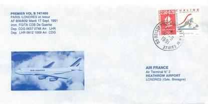 """LETTRE 1 ER VOL / FRANCE """"Paris / Londres, 17 septembre 1991"""""""
