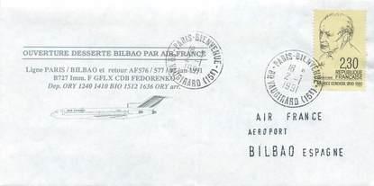 """LETTRE 1 ER VOL / FRANCE """"Paris / Bilbao, 2 janvier 1991"""""""
