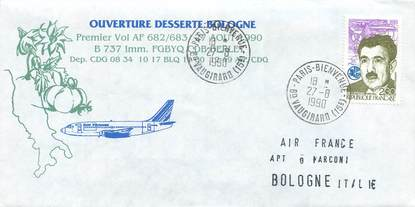 """LETTRE 1 ER VOL / FRANCE """"Paris / Bologne, 27 aout 1990"""""""