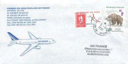 """LETTRE 1 ER VOL / FRANCE """"Paris / Chicago, 5 novembre 1991"""""""