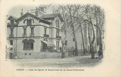"""CPA FRANCE 66 """"Céret, Café du sport et boulevard de la Sous Préfecture""""."""