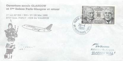 """LETTRE 1 ER VOL / FRANCE """"Paris / Glasgow, 27 mars 1988"""""""