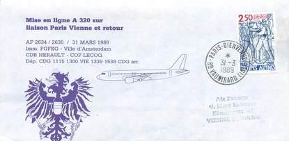 """LETTRE 1 ER VOL / FRANCE """"Paris / Vienne, 31 mars 1989"""""""