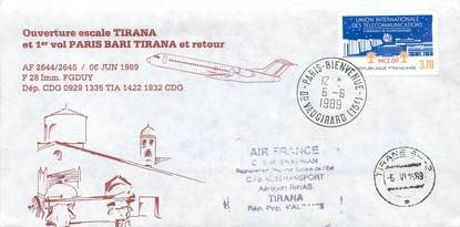 "LETTRE 1 ER VOL / FRANCE ""Paris / Bari Tirana, 6 juin 1989"""