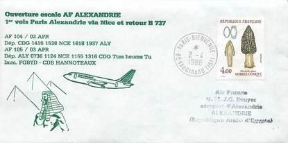 "LETTRE 1 ER VOL / FRANCE ""Paris / Alexandrie via Nice, 2 avril 1988"""