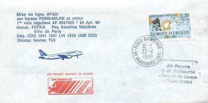 "LETTRE 1 ER VOL / FRANCE ""Paris / Milan, 23 avril 1988"""