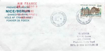 "LETTRE 1 ER VOL / FRANCE ""Nice / Berlin, 5 avril 1986"""