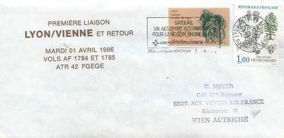 """LETTRE 1 ER VOL / FRANCE """"Lyon / Vienne, 1er avril 1986"""""""