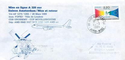 "LETTRE 1 ER VOL / FRANCE ""Amsterdam / Nice, 26 mars 1989"""