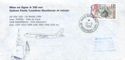 """LETTRE 1 ER VOL / FRANCE """"Paris / Londres, 30 mars 1989"""""""