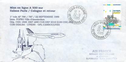 """LETTRE 1 ER VOL / FRANCE """"Paris / Cologne, 22 septembre 1989"""""""
