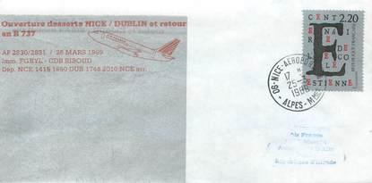 """LETTRE 1 ER VOL / FRANCE """"Nice / Dublin, 26 mars 1989"""""""