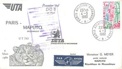 """LETTRE 1 ER VOL / FRANCE """"Paris / Mozambique Maputo, 4 mars 1980"""""""