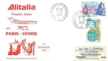 lettre 1 er vol france paris venise 1er novembre 1979 1 er vol france ref 140315. Black Bedroom Furniture Sets. Home Design Ideas