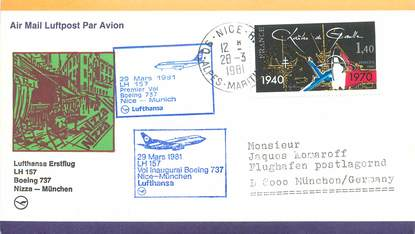 "LETTRE 1 ER VOL / FRANCE ""Nice / Munich, 29 mars 1981"""