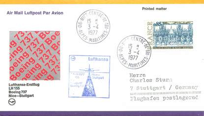 "LETTRE 1 ER VOL / FRANCE ""Nice / Stuttgart, avril 1977"""