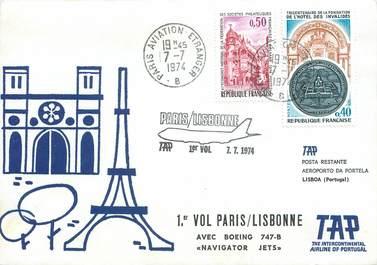 "LETTRE 1 ER VOL / FRANCE ""Paris / Lisbonne, 7 juillet 1974"""