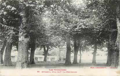 """CPA FRANCE 66 """" Estagel, La promenade""""."""