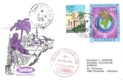 """LETTRE 1 ER VOL / """"Alger / Bruxelles, 3 avril 1976"""""""