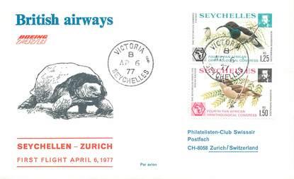 """LETTRE 1 ER VOL / """"Seychelles / Zurich, 6 avril 1977"""""""