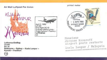 "LETTRE 1 ER VOL / ""Melbourne / Sydney / Kuala Lumpur / Karachi / Francfort, 2 avril 1980"""