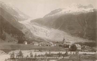 """CPA FRANCE 74 """"Argentière, Le glacier, l'aiguille du Chardonnet et l'aiguille Verte""""."""