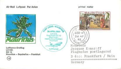 """LETTRE 1 ER VOL ALLEMAGNE / """"Maurice / Seychelles / Francfort, 26 avril 1982"""""""