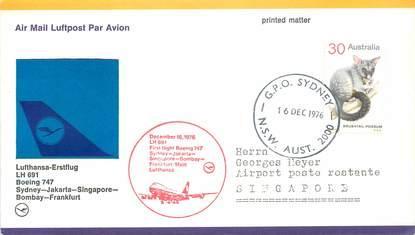 """LETTRE 1 ER VOL ALLEMAGNE / """"Sydney / Jakarta / Singapour / Bombay / Francfort, 16 décembre 1976"""""""