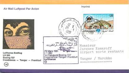 """LETTRE 1 ER VOL ALLEMAGNE / """"Casablanca, Tanger, Francfort, 29 mars 1981 """""""