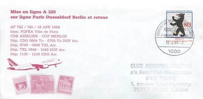 """LETTRE 1 ER VOL ALLEMAGNE / """"Paris / Dusseldorf / Berlin, 18 avril 1988"""""""
