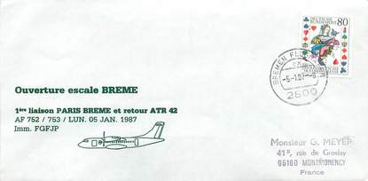 """LETTRE 1 ER VOL / ALLEMAGNE """"Paris / Brême, lundi 5 janvier 1987"""""""