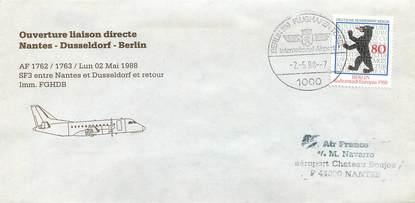 "LETTRE 1 ER VOL / ALLEMAGNE ""Nantes / Dusseldorf / Berlin, 2 mai 1988"""