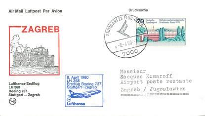 "LETTRE 1 ER VOL / ALLEMAGNE ""Stuttgart / Zagreb, 8 avril 1980"""