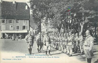 """CPA FRANCE 68 """"Massevaux, Revue des troupes sur la place du marché""""."""