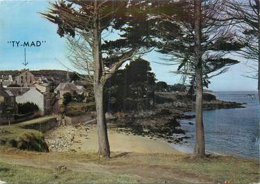 """CPSM FRANCE 29 """"Tréboul Douarnenez, Plage et chapelle St Jean, l'Hôtel Ty Mad""""."""