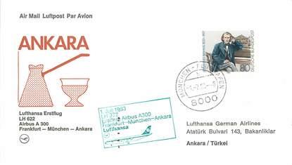 """LETTRE CARTE 1 ER VOL / ALLEMAGNE """"A300, Francfort / Münich / Ankara, 1er juillet 1983"""""""