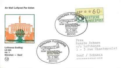 "LETTRE 1 ER VOL / ALLEMAGNE ""Münich / Genf, 30 mars 1981"""