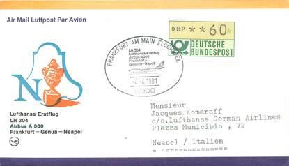 """LETTRE 1 ER VOL / ALLEMAGNE """"Francfort / Genua / Neapel, 4 avril 1981"""""""