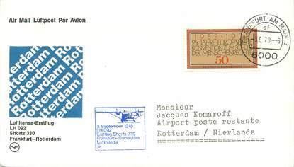 """LETTRE 1 ER VOL / ALLEMAGNE """"Francfort / Rotterdam, 3 septembre 1978"""""""