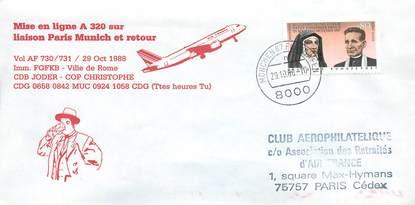 """LETTRE 1 ER VOL / ALLEMAGNE """"Paris / Munich, 29 octobre 1988"""""""