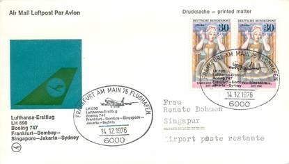 """LETTRE 1 ER VOL / ALLEMAGNE """"Francfort / Bombay / Singapour / Jakarta / Sydney, 14 décembre 1976"""""""