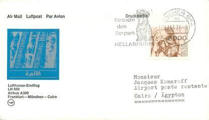 """LETTRE 1 ER VOL / ALLEMAGNE """"Francfort / Münich / Le Caire, 31 mars 1978"""""""