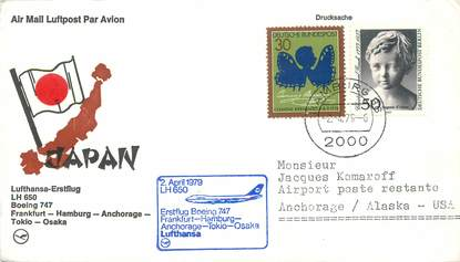 """LETTRE 1 ER VOL / ALLEMAGNE """"Francfort / Hambourg / Anchorage / Tokyo / Osaka, 2 avril 1979"""""""