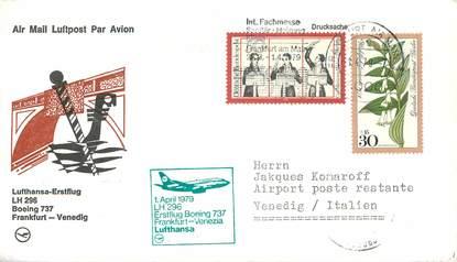 """LETTRE 1 ER VOL / ALLEMAGNE """"Francfort / Venise, 1er avril 1979"""""""