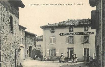 """CPA FRANCE 69 """"Aubépin, La fontaine et hôtel des monts Lyonnais""""."""