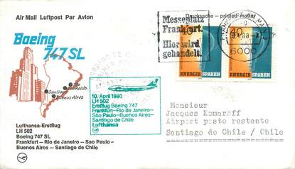 "LETTRE 1 ER VOL / ALLEMAGNE ""Francfort / Rio de Janeiro / Sao Paulo / BUenos Aires / Santiago de Chile, 10 avril 1980"""
