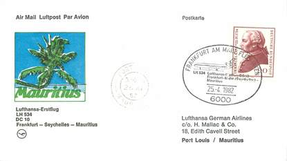 """LETTRE CARTE 1 ER VOL / ALLEMAGNE """"Francfort / Seychelles / Maurice, 25 avril 1982"""""""